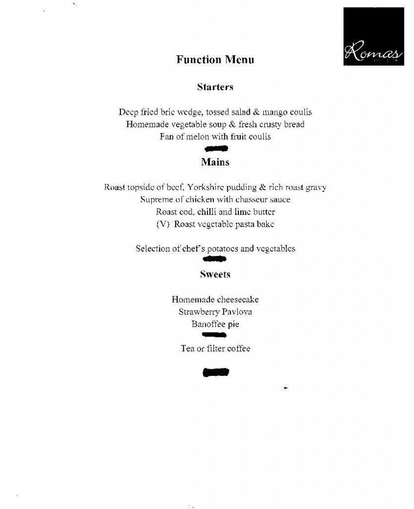 Roma's function menu