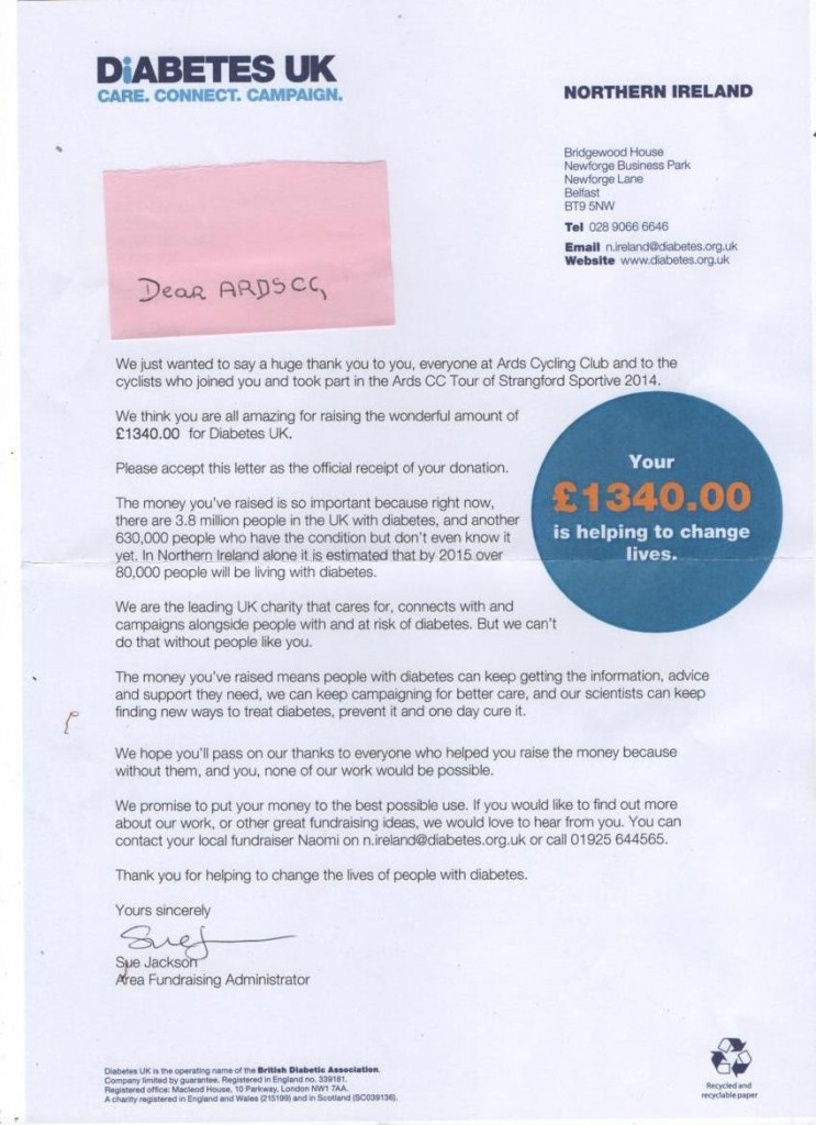 Diabetes UK letter of thanks 8-10-14
