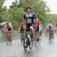 Chris Lappin crossing the line in 4th place in atrocious conditions at the end of Stage 1